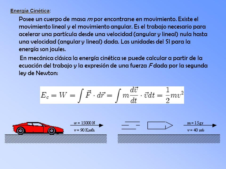 Energía Cinética Energía Cinética: Posee un cuerpo de masa m por encontrarse en movimiento. Existe el movimiento lineal y el movimiento angular. Es el