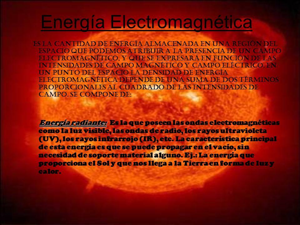 Energía Electromagnética Es la cantidad de energía almacenada en una región del espacio que podemos atribuir a la presencia de un campo electromagnéti