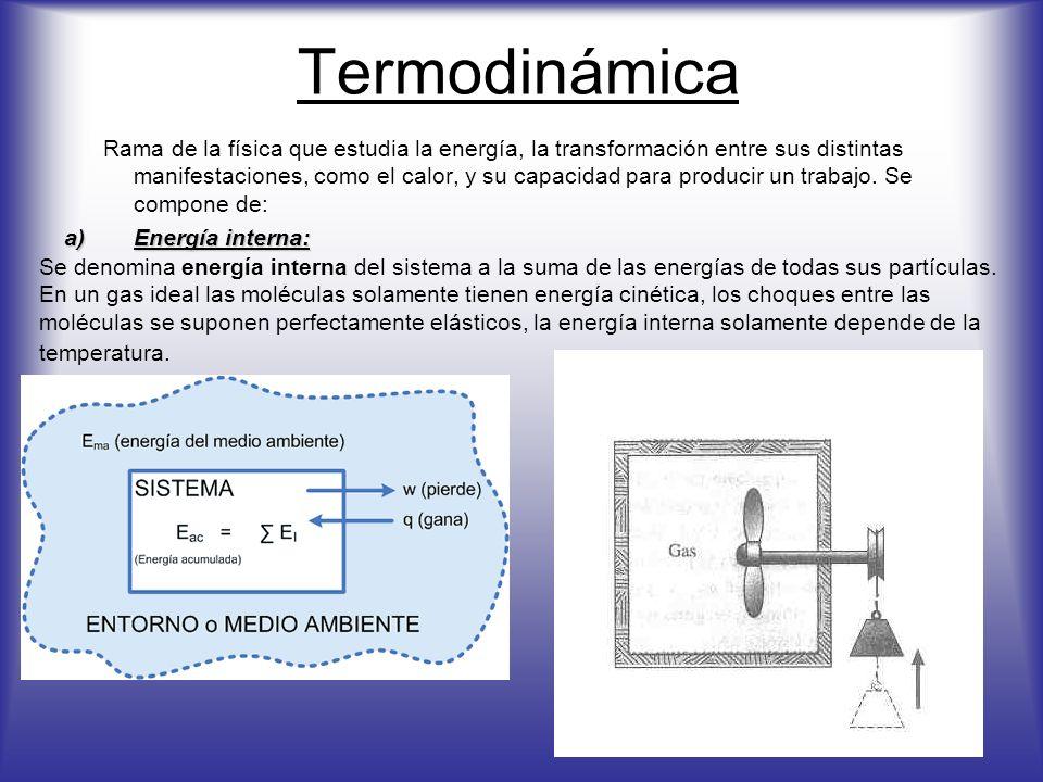 Termodinámica Rama de la física que estudia la energía, la transformación entre sus distintas manifestaciones, como el calor, y su capacidad para prod
