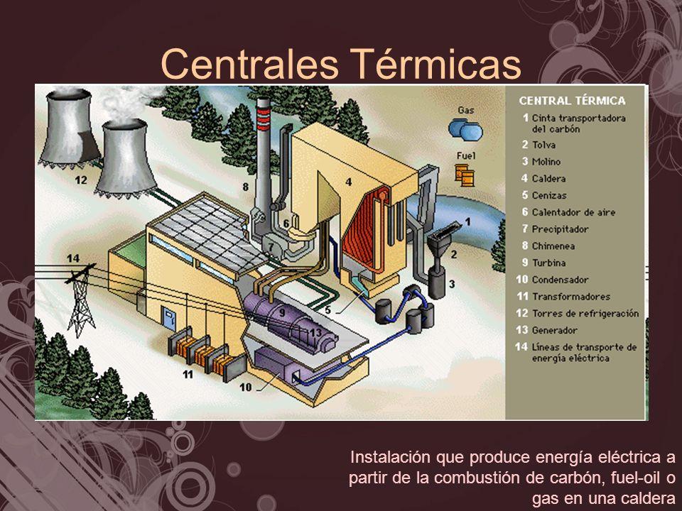 Centrales Térmicas Instalación que produce energía eléctrica a partir de la combustión de carbón, fuel-oil o gas en una caldera