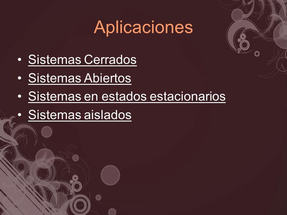 Aplicaciones Sistemas Cerrados Sistemas Abiertos Sistemas en estados estacionarios Sistemas aislados