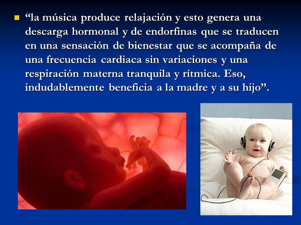 la música produce relajación y esto genera una descarga hormonal y de endorfinas que se traducen en una sensación de bienestar que se acompaña de una frecuencia cardiaca sin variaciones y una respiración materna tranquila y rítmica.