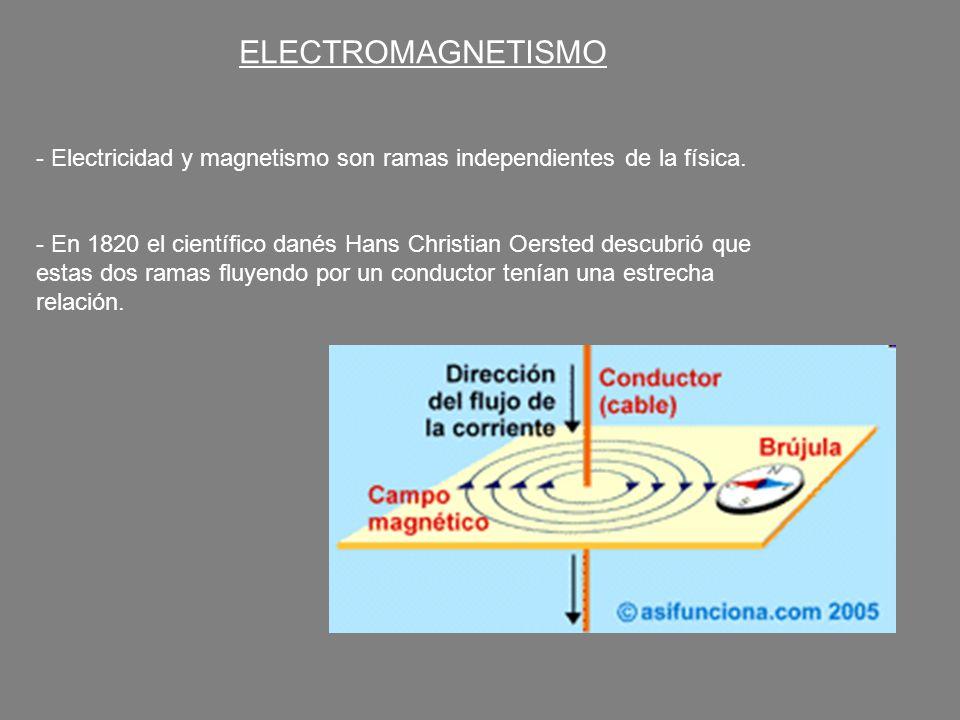 ELECTROMAGNETISMO - Electricidad y magnetismo son ramas independientes de la física. - En 1820 el científico danés Hans Christian Oersted descubrió qu