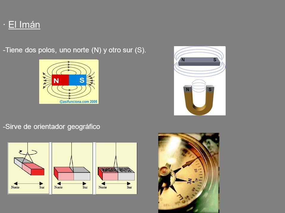 · El Imán -Tiene dos polos, uno norte (N) y otro sur (S). -Sirve de orientador geográfico