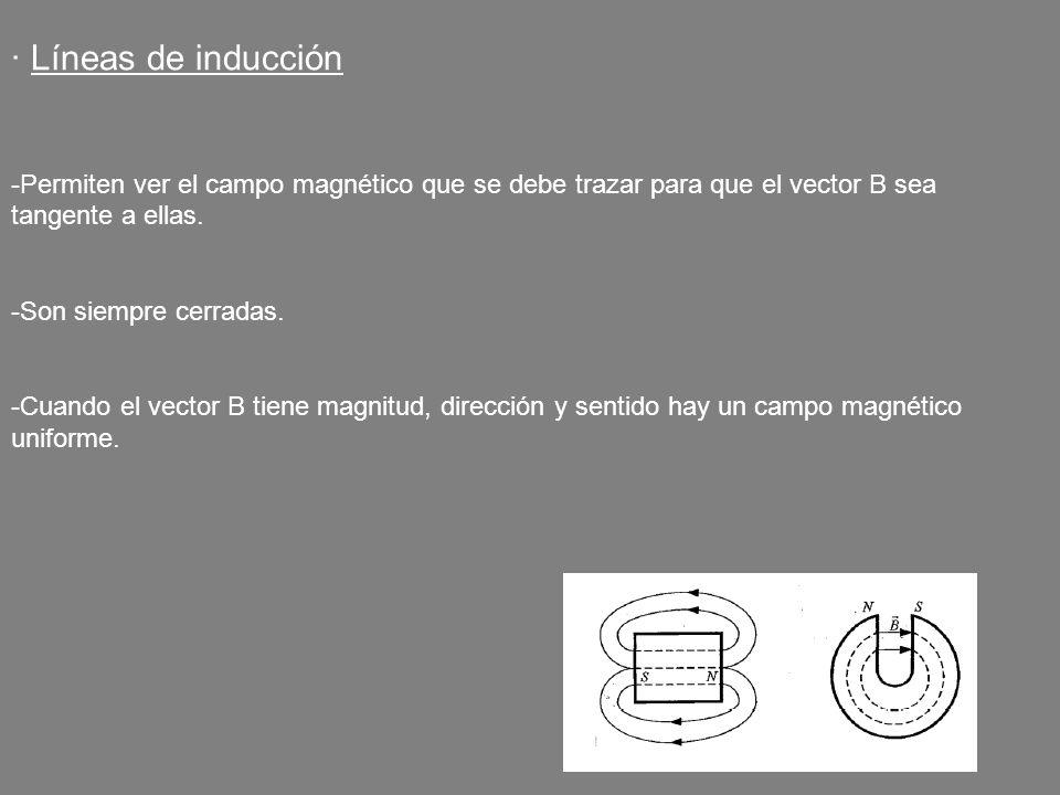 · Líneas de inducción -Permiten ver el campo magnético que se debe trazar para que el vector B sea tangente a ellas. -Son siempre cerradas. -Cuando el