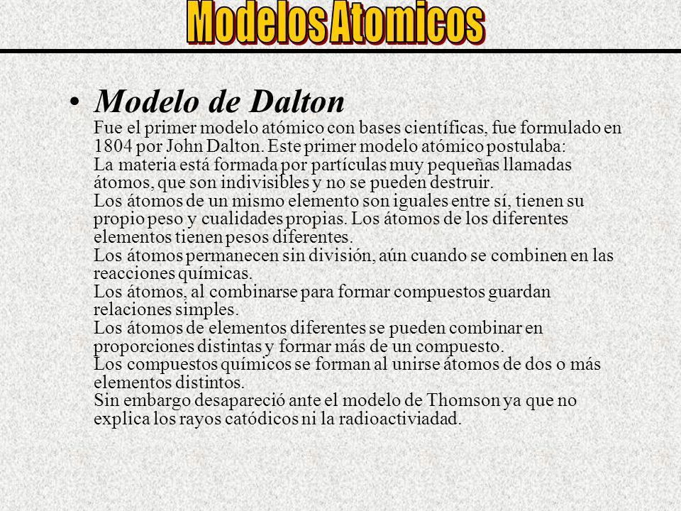 Modelo de Dalton Fue el primer modelo atómico con bases científicas, fue formulado en 1804 por John Dalton. Este primer modelo atómico postulaba: La m