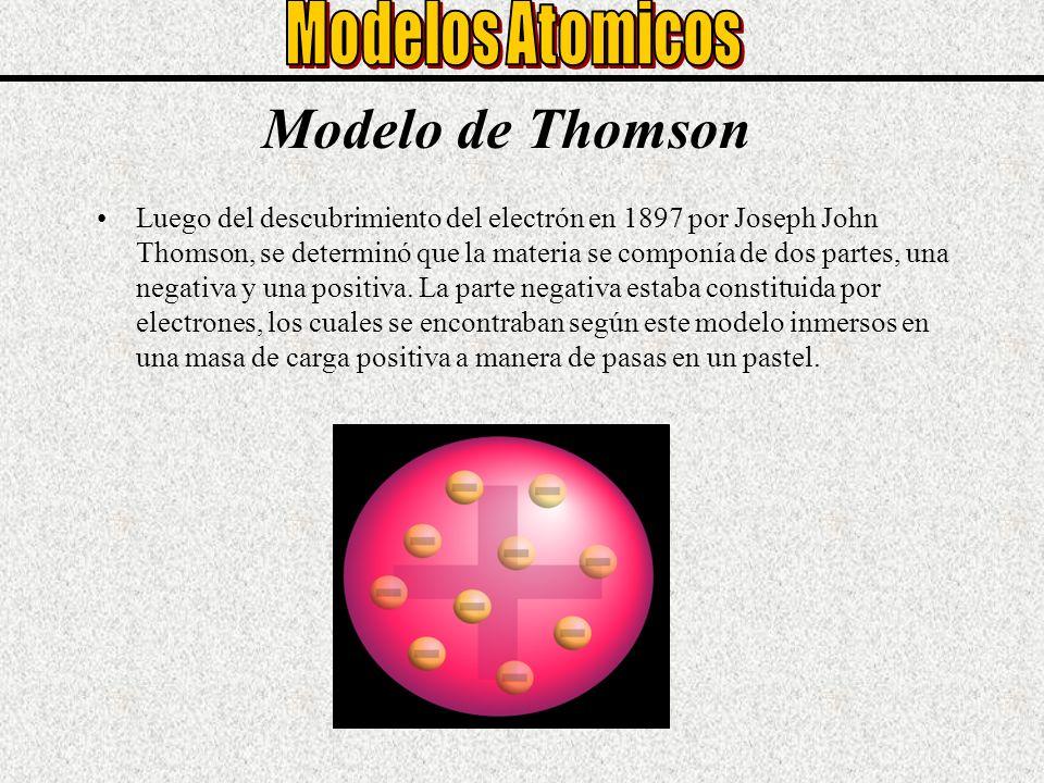 Modelo de Thomson Luego del descubrimiento del electrón en 1897 por Joseph John Thomson, se determinó que la materia se componía de dos partes, una ne