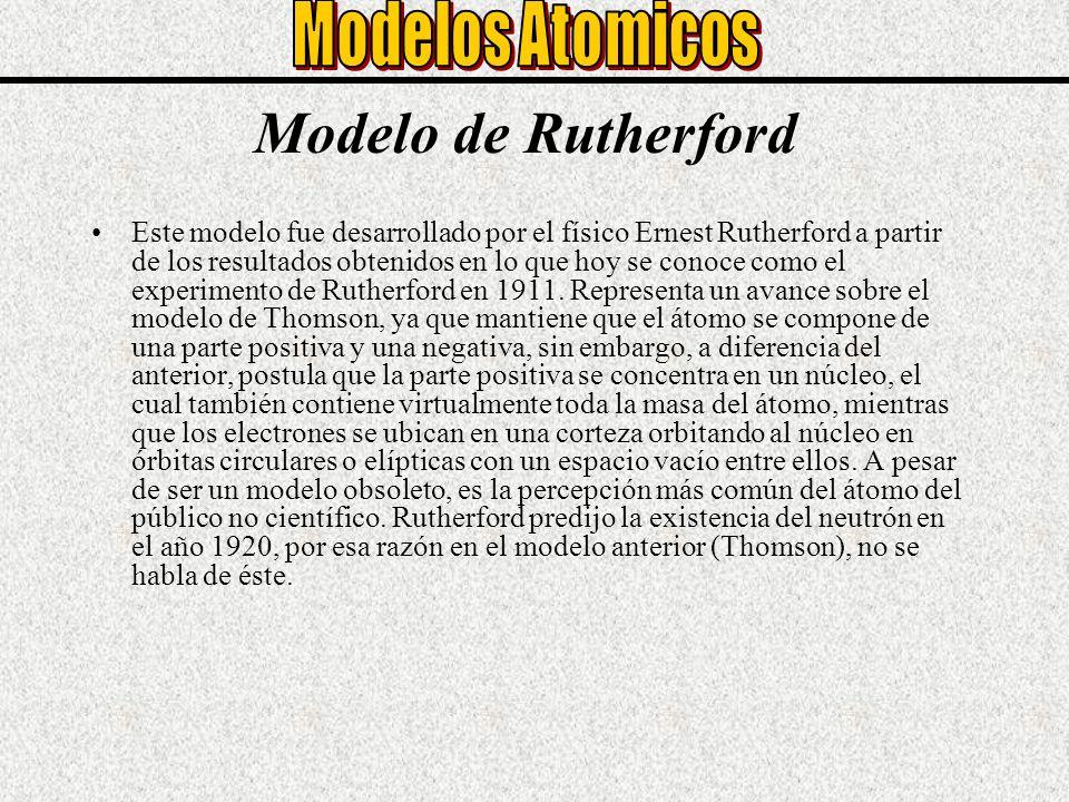 Modelo de Rutherford Este modelo fue desarrollado por el físico Ernest Rutherford a partir de los resultados obtenidos en lo que hoy se conoce como el