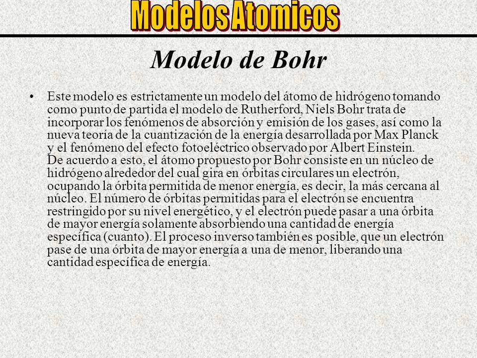 Modelo de Bohr Este modelo es estrictamente un modelo del átomo de hidrógeno tomando como punto de partida el modelo de Rutherford, Niels Bohr trata d