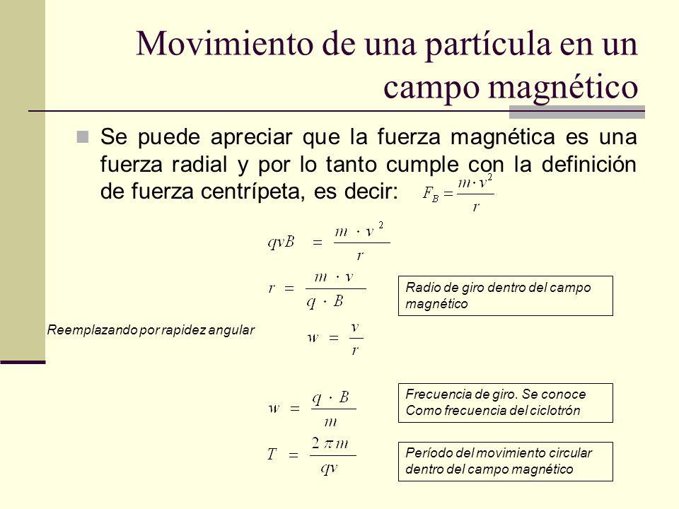Movimiento de una partícula en un campo magnético Se puede apreciar que la fuerza magnética es una fuerza radial y por lo tanto cumple con la definici