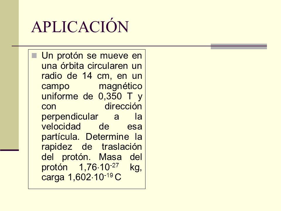 APLICACIÓN Un protón se mueve en una órbita circularen un radio de 14 cm, en un campo magnético uniforme de 0,350 T y con dirección perpendicular a la