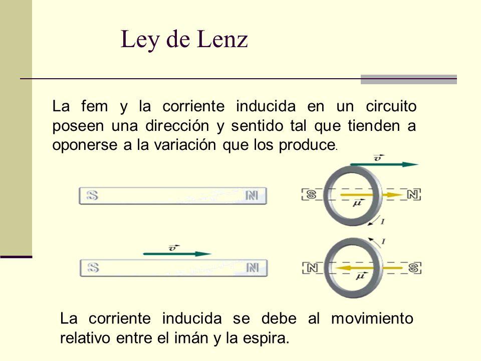 Ley de Lenz La fem y la corriente inducida en un circuito poseen una dirección y sentido tal que tienden a oponerse a la variación que los produce. La
