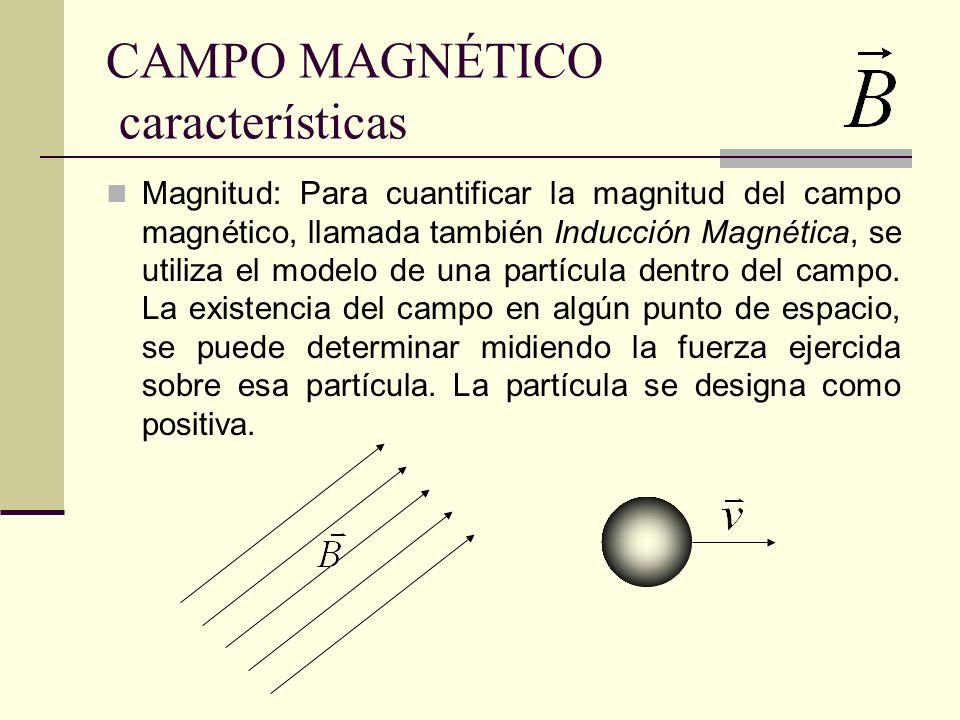 FUERZA MAGNÉTICA La fuerza magnética F B es proporcional a la carga q, como ala velocidad de la misma La magnitud dirección y sentido de la fuerza magnética que actúa sobre la carga, depende de la dirección relativa entre la partícula y el campo magnético Si la velocidad de la partícula es paralela a la dirección del campo magnético, el campo no ejerce fuerza.