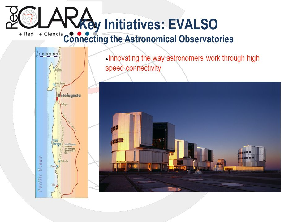 Key Initiatives: EVALSO Connecting the Astronomical Observatories Innovating the way astronomers work through high speed connectivity