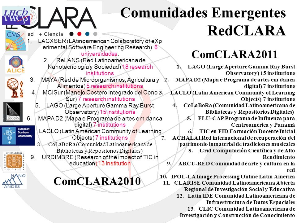 Comunidades Emergentes RedCLARA 1.LACXSER (LAtinoamerican Colaboratory of eXp erimental Software Engineering Research) 6 universidades. 2. ReLANS (Red