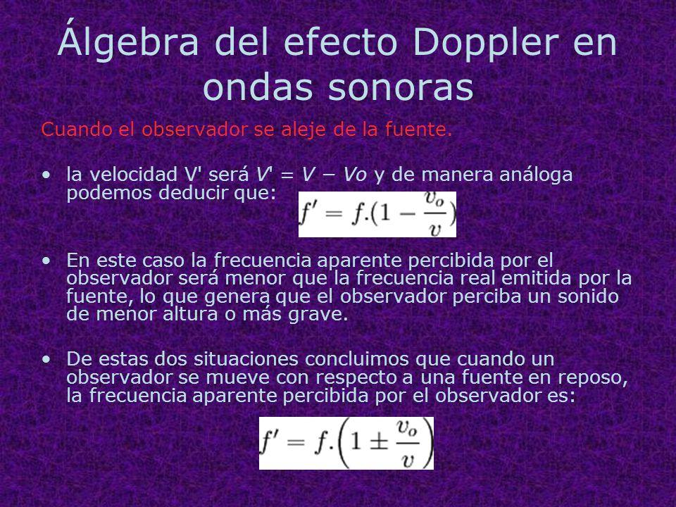 Álgebra del efecto Doppler en ondas sonoras Cuando el observador se aleje de la fuente. la velocidad V' será V' = V Vo y de manera análoga podemos ded