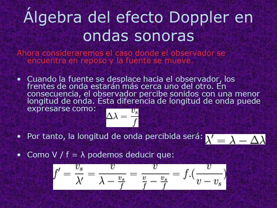 Álgebra del efecto Doppler en ondas sonoras Ahora consideraremos el caso donde el observador se encuentra en reposo y la fuente se mueve. Cuando la fu