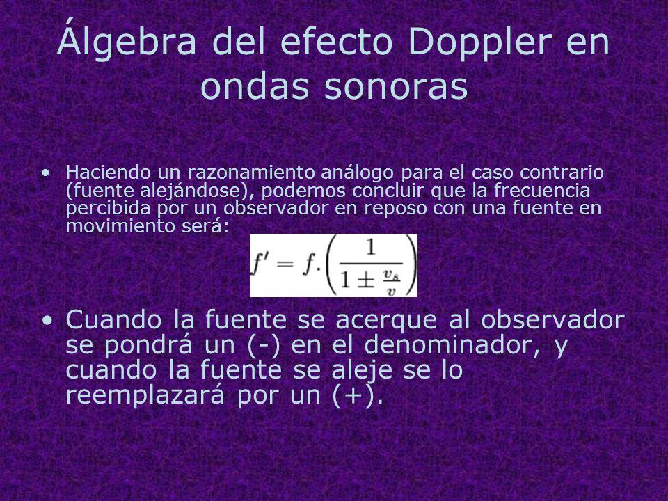 Álgebra del efecto Doppler en ondas sonoras Haciendo un razonamiento análogo para el caso contrario (fuente alejándose), podemos concluir que la frecu