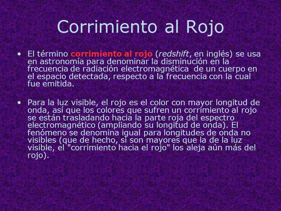 Corrimiento al Rojo El término corrimiento al rojo (redshift, en inglés) se usa en astronomía para denominar la disminución en la frecuencia de radiac