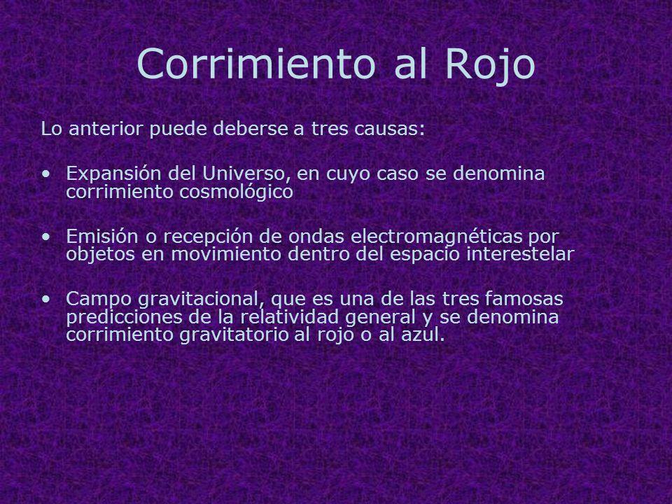 Corrimiento al Rojo Lo anterior puede deberse a tres causas: Expansión del Universo, en cuyo caso se denomina corrimiento cosmológico Emisión o recepc