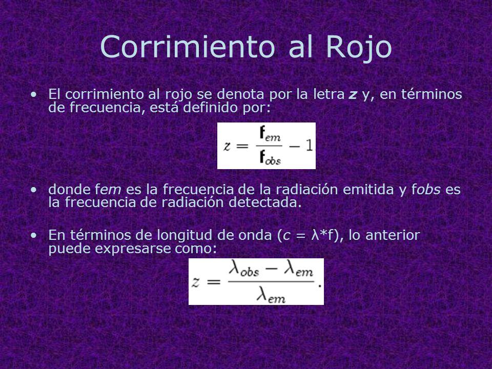 Corrimiento al Rojo El corrimiento al rojo se denota por la letra z y, en términos de frecuencia, está definido por: donde fem es la frecuencia de la