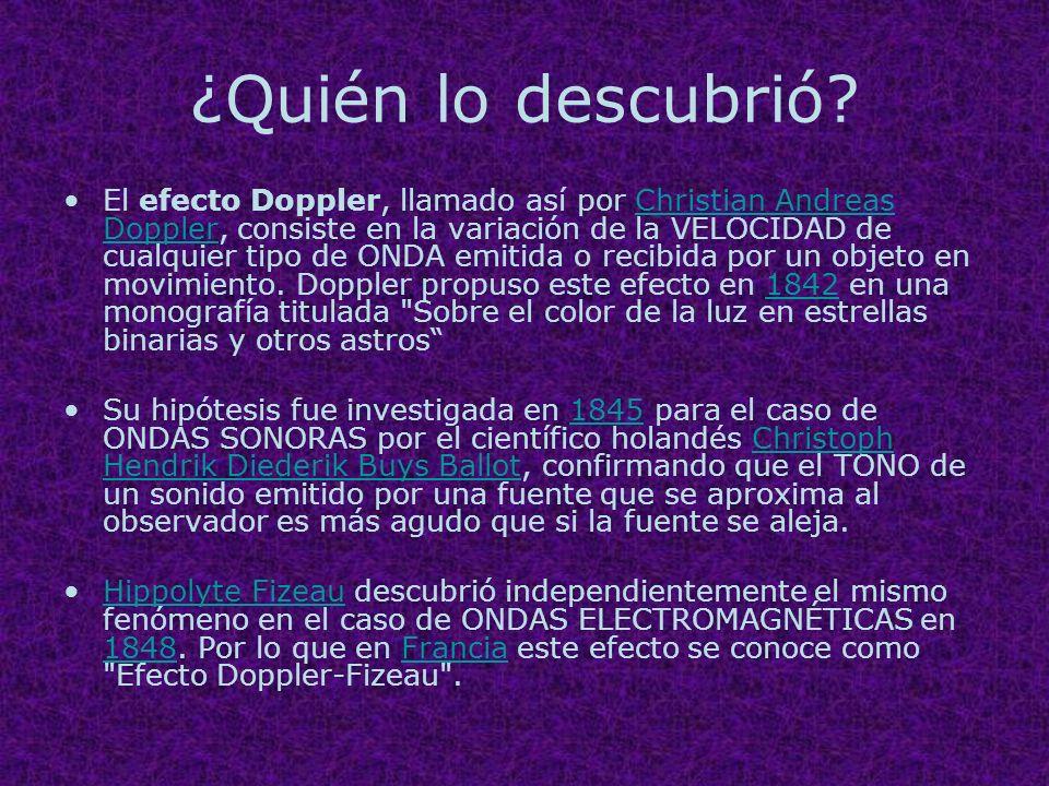 ¿Quién lo descubrió? El efecto Doppler, llamado así por Christian Andreas Doppler, consiste en la variación de la VELOCIDAD de cualquier tipo de ONDA