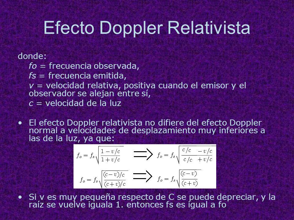 Efecto Doppler Relativista donde: fo = frecuencia observada, fs = frecuencia emitida, v = velocidad relativa, positiva cuando el emisor y el observado