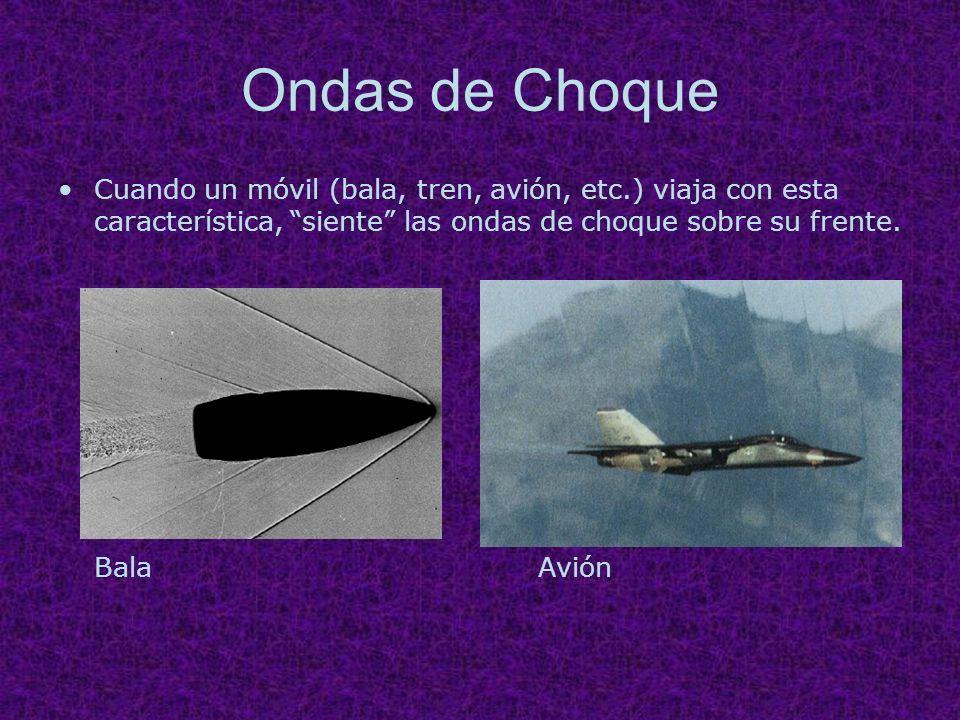 Ondas de Choque Cuando un móvil (bala, tren, avión, etc.) viaja con esta característica, siente las ondas de choque sobre su frente. BalaAvión