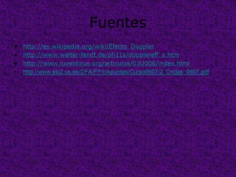Fuentes http://es.wikipedia.org/wiki/Efecto_Doppler http://www.walter-fendt.de/ph11s/dopplereff_s.htm http://www.luventicus.org/articulos/03U006/index