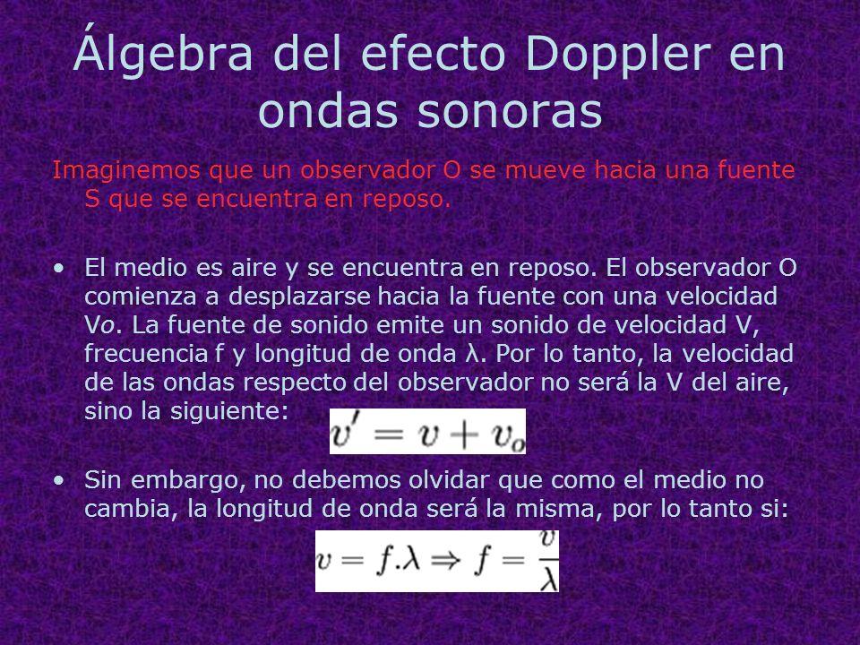Álgebra del efecto Doppler en ondas sonoras Imaginemos que un observador O se mueve hacia una fuente S que se encuentra en reposo. El medio es aire y