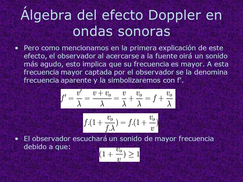 Álgebra del efecto Doppler en ondas sonoras Pero como mencionamos en la primera explicación de este efecto, el observador al acercarse a la fuente oir