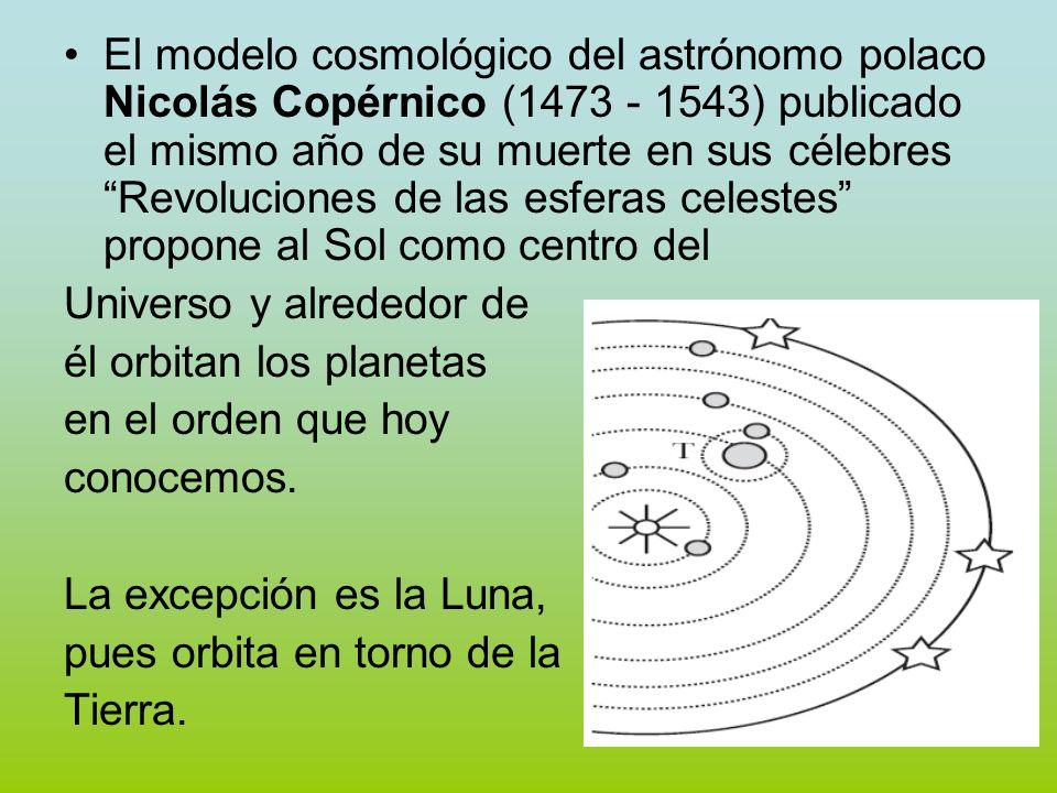 El modelo cosmológico del astrónomo polaco Nicolás Copérnico (1473 - 1543) publicado el mismo año de su muerte en sus célebres Revoluciones de las esf