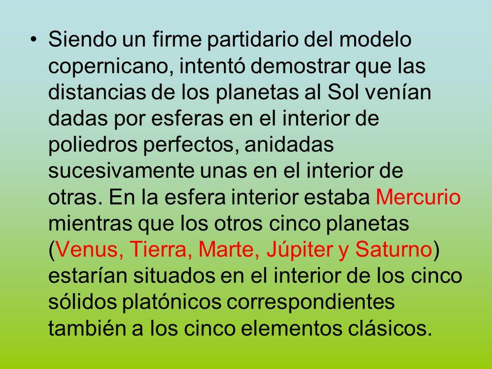 Siendo un firme partidario del modelo copernicano, intentó demostrar que las distancias de los planetas al Sol venían dadas por esferas en el interior