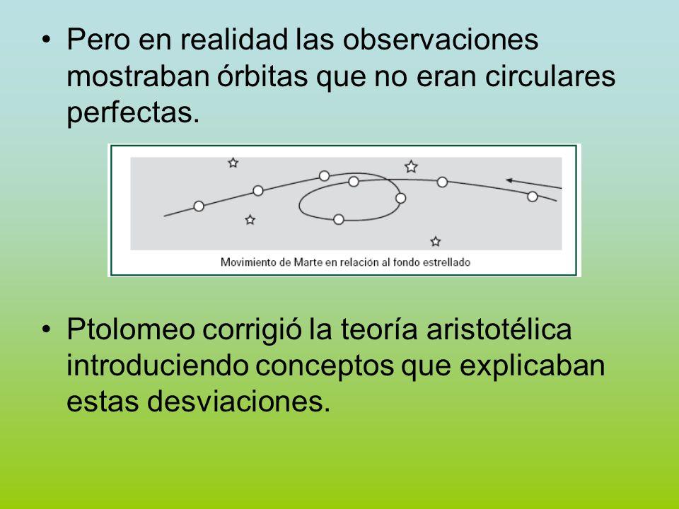 Pero en realidad las observaciones mostraban órbitas que no eran circulares perfectas. Ptolomeo corrigió la teoría aristotélica introduciendo concepto