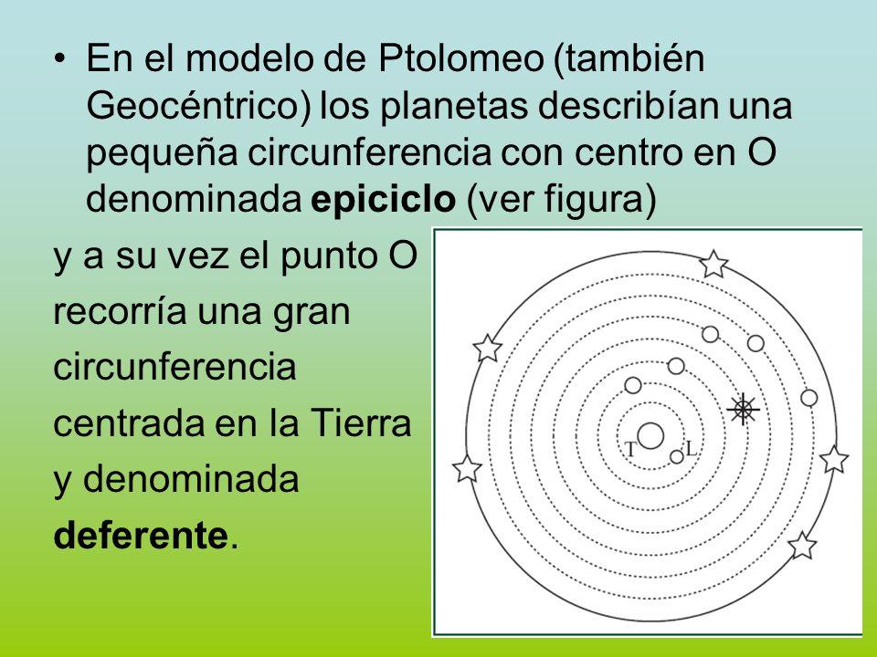En el modelo de Ptolomeo (también Geocéntrico) los planetas describían una pequeña circunferencia con centro en O denominada epiciclo (ver figura) y a