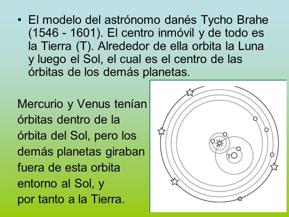 El modelo del astrónomo danés Tycho Brahe (1546 - 1601). El centro inmóvil y de todo es la Tierra (T). Alrededor de ella orbita la Luna y luego el Sol