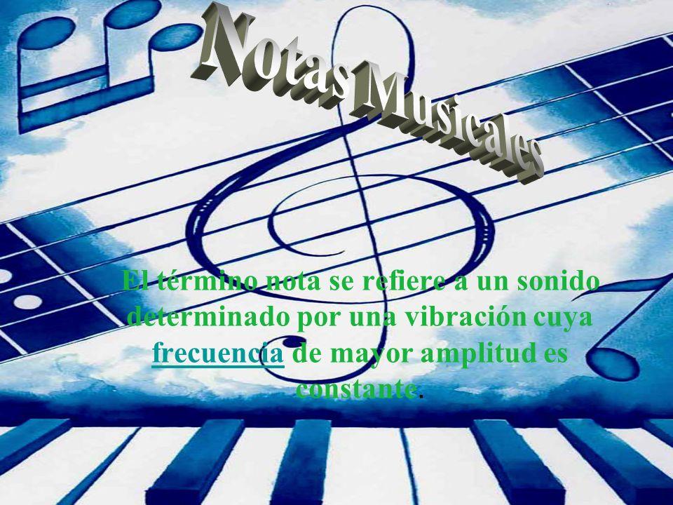 El término nota se refiere a un sonido determinado por una vibración cuya frecuencia de mayor amplitud es constante. frecuencia