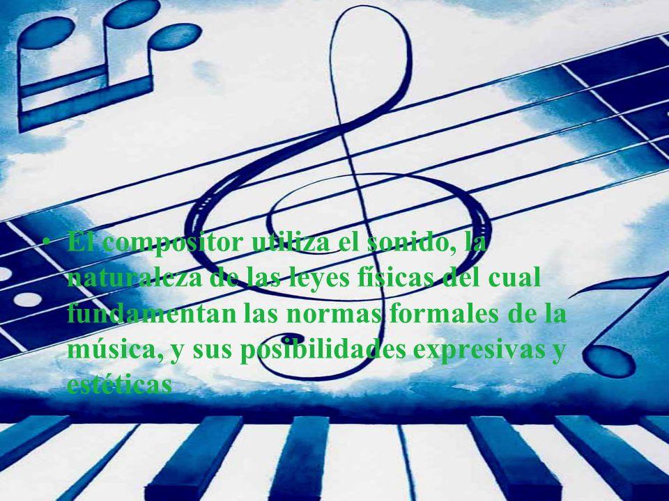El compositor utiliza el sonido, la naturaleza de las leyes físicas del cual fundamentan las normas formales de la música, y sus posibilidades expresi