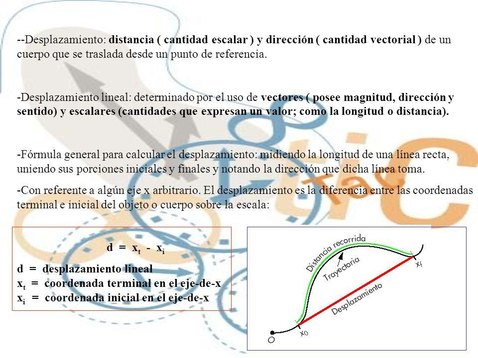 --Desplazamiento: distancia ( cantidad escalar ) y dirección ( cantidad vectorial ) de un cuerpo que se traslada desde un punto de referencia. -Despla