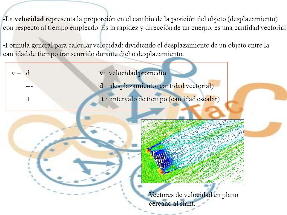 -La velocidad representa la proporción en el cambio de la posición del objeto (desplazamiento) con respecto al tiempo empleado. Es la rapidez y direcc