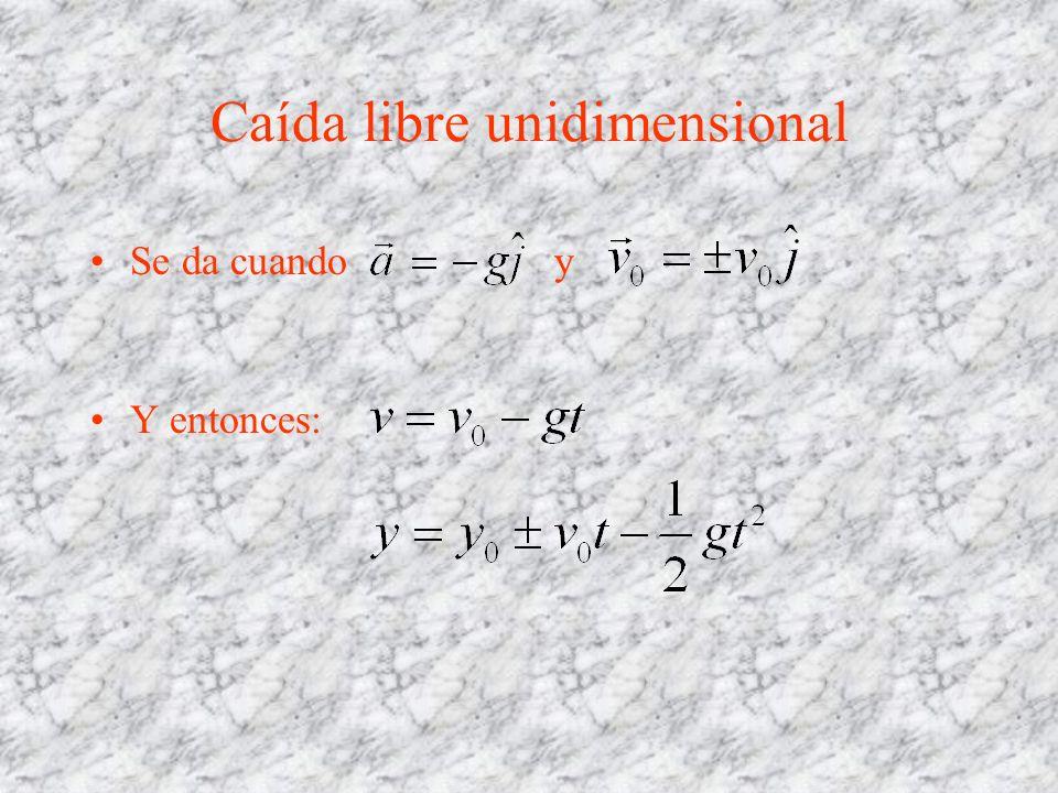 Caída libre unidimensional Se da cuando y Y entonces: