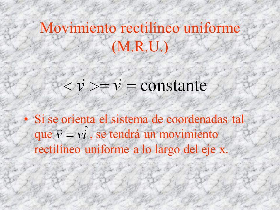 Movimiento rectilíneo uniforme (M.R.U.) Si se orienta el sistema de coordenadas tal que, se tendrá un movimiento rectilíneo uniforme a lo largo del ej