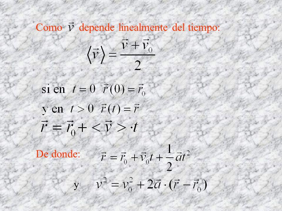 Como depende linealmente del tiempo: De donde: y