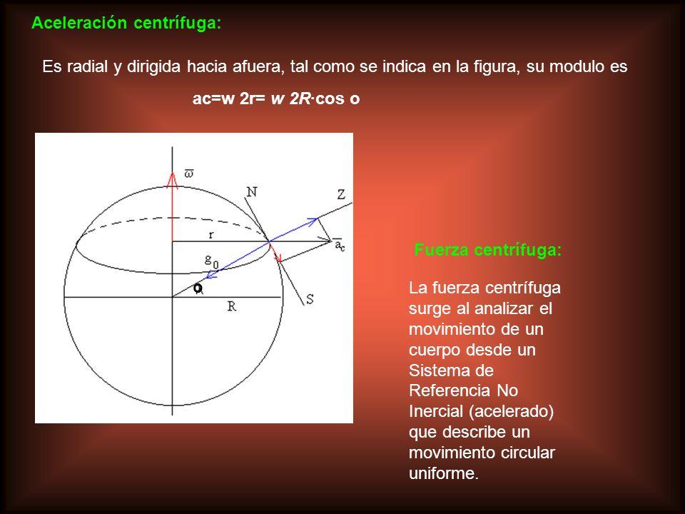 Aceleración centrífuga: Es radial y dirigida hacia afuera, tal como se indica en la figura, su modulo es ac=w 2r= w 2R·cos o o La fuerza centrífuga su