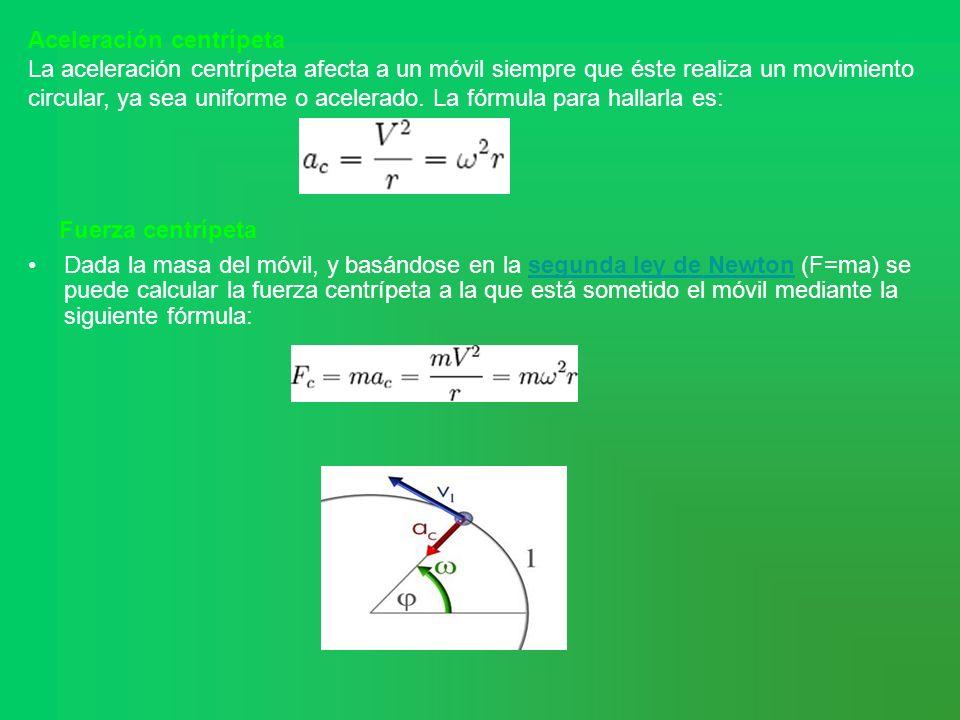 Aceleración centrípeta La aceleración centrípeta afecta a un móvil siempre que éste realiza un movimiento circular, ya sea uniforme o acelerado. La fó