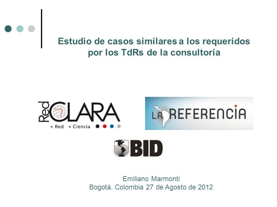 Estudio de casos similares a los requeridos por los TdRs de la consultoría Emiliano Marmonti Bogotá.