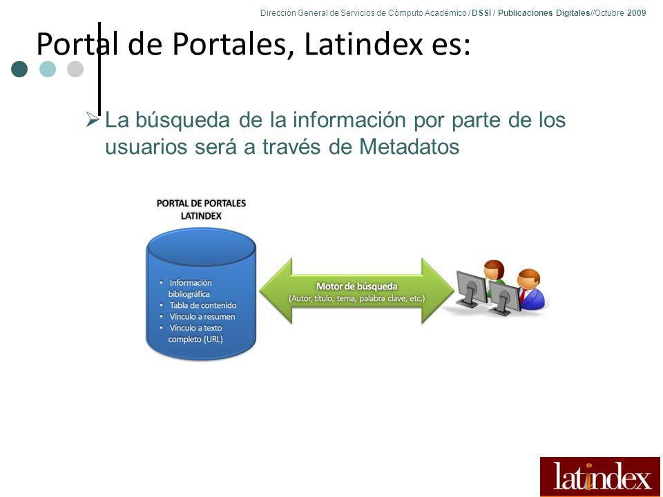 Dirección General de Servicios de Cómputo Académico / DSSI / Publicaciones Digitales//Octubre 2009 73 La búsqueda de la información por parte de los usuarios será a través de Metadatos Portal de Portales, Latindex es: