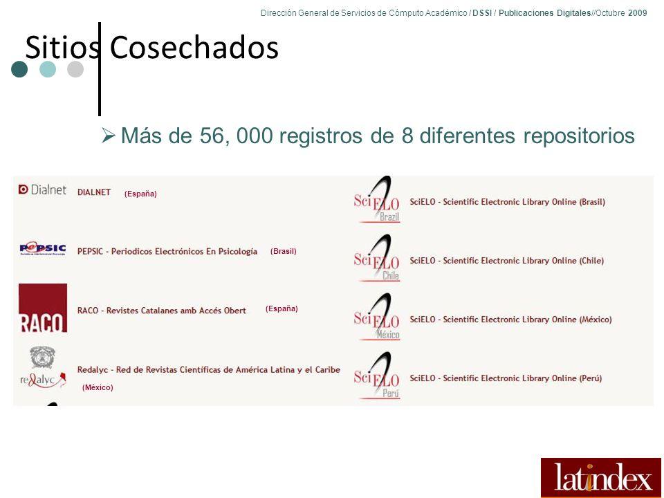 Dirección General de Servicios de Cómputo Académico / DSSI / Publicaciones Digitales//Octubre 2009 79 Sitios Cosechados Más de 56, 000 registros de 8 diferentes repositorios (España) (Brasil) (España) (México)