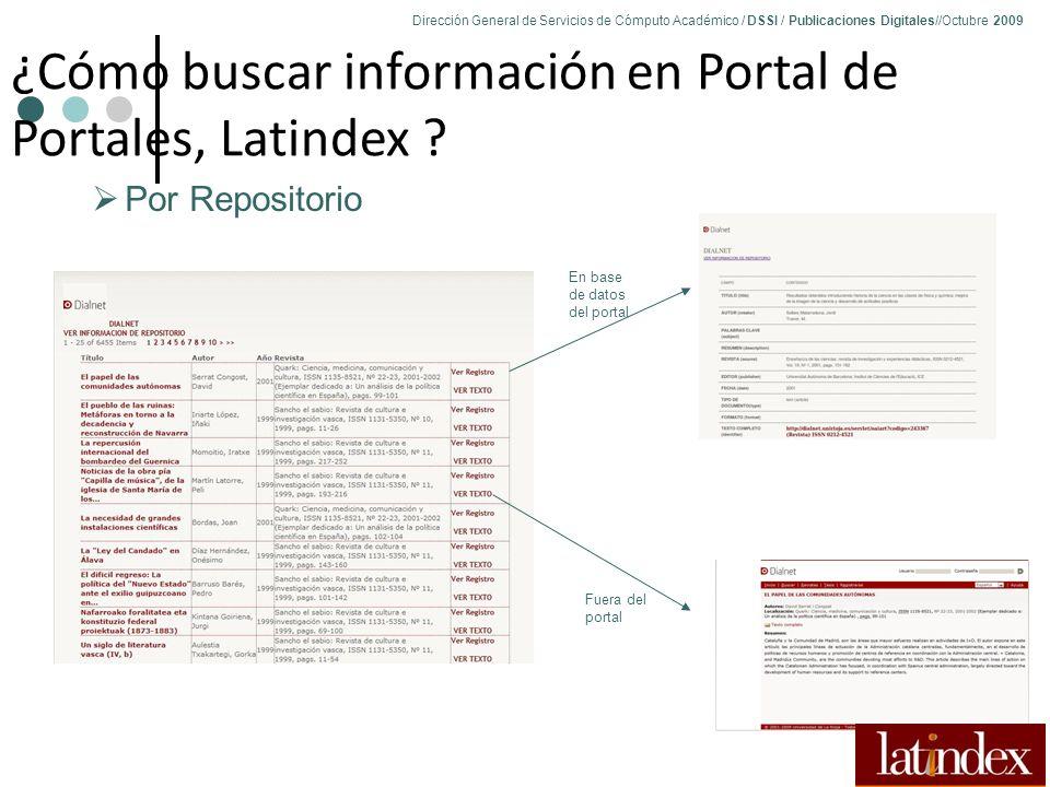 Dirección General de Servicios de Cómputo Académico / DSSI / Publicaciones Digitales//Octubre 2009 81 ¿Cómo buscar información en Portal de Portales, Latindex .