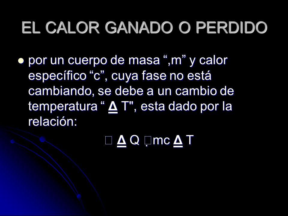 EL CALOR GANADO O PERDIDO por un cuerpo de masa,m y calor específico c, cuya fase no está cambiando, se debe a un cambio de temperatura Δ T
